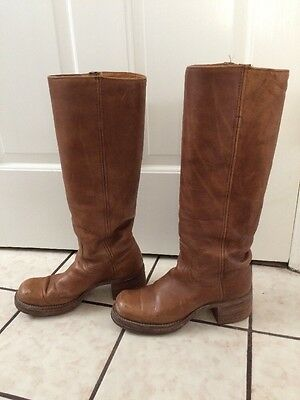 fc11236ee FRYE 1970s Womens Brown Leather Black Label Hippie Campus Boots Sze 5 1/2 B