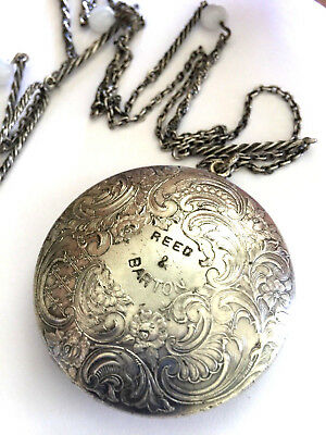 Antique Reed & Barton Silver Plated Floral Compact Mirror Powder Make Up + Chain