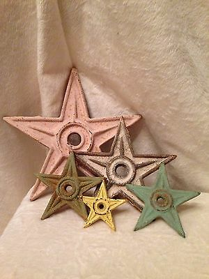 SET OF 5 Distressed Cast Iron Stars In Pastels And Various Sizes