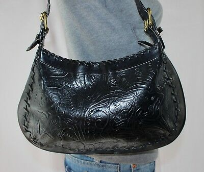 b6a3f0a536 CLASSIQUES ENTIER Small Black Leather Shouldr Hobo Tote Satchel Slouch Purse  Bag