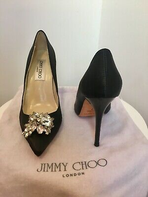 35cea0226b Jimmy Choo Black Satin Crystal Embellished Classic Stiletto Pointed Toe  Pumps 37