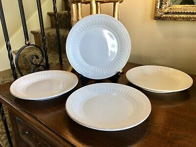 Set Of 4 New Lenox French Perle Groove White Salad Plate