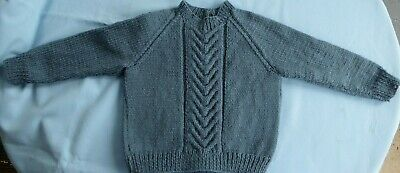 Baby Jumper Hand Knitted, Teal Blue, Fits New Born To 3 Month Old (119)