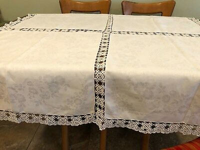 "Antique Edwardian Damask Linen Handmade Crocheted Tablecloth 58""x55"" Square"