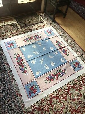 """Vintage 1960s Table Topper Tablecloth, FLOWERS RED BLUE YELLOW, 48""""x51"""""""