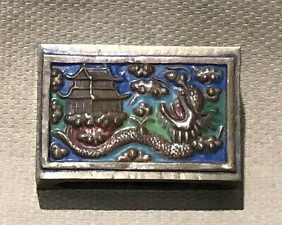 Vintage / Antique Chinese Brass Match Box Holders With Enamel Dragon Design