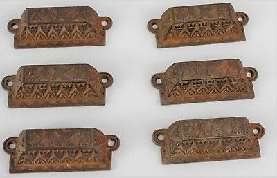 One BROWN  ORNATE PULLS DRAWER CABINET BIN HANDLES RUSTIC VINTAGE