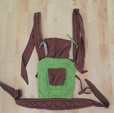 BABY CARRIER POUCH Adjustable Breathable Infant Newborn 100% Cotton Green Brown