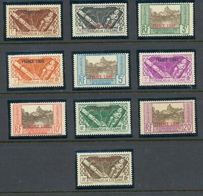 1941 French Polynesia  -  Sc #126-135  France Libre  Mint, Never Hinged  Mnh  Nh