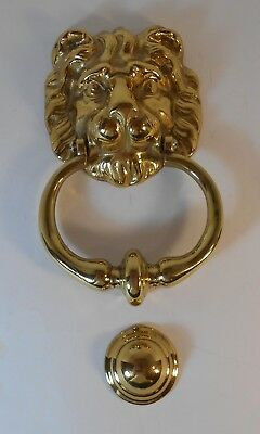 Vintage Polished Brass Lion Face Door Knocker with Strike Button