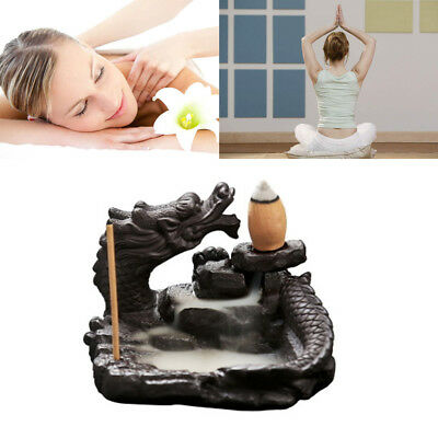 Dragon Incense Burner Smoke Backflow Ceramic Glaze Censer Stick Cone Plate NEW