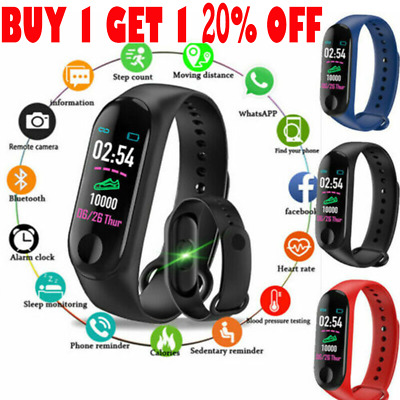 Smart Band Watch Bracelet Fitness Activity Tracker Blood Pressure Heart Rate M3