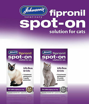 Johnsons Fipronil Spot-On Treatment Drops For Cats Kills Fleas & Ticks