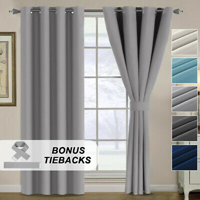 2x Blockout Curtains for Bedroom Blackout Window Draperies Pair Bonus 2 Tiebacks