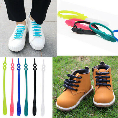 10Pcs Easy No Tie Shoelaces Elastic Silicone Flat Lazy Shoe Lace for Kids Adult
