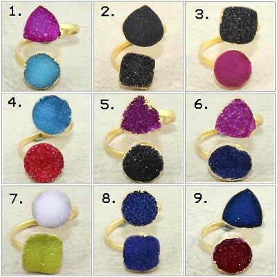 Colorful Natural Double Sugar Druzy Gold Plated Adjustable Ring Gemstone Jewelry