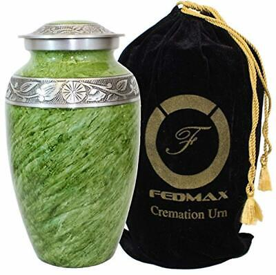 Cremation Urn Adults Ashes up to 200lbs Green Funeral Burial Urns w/Satin Bag