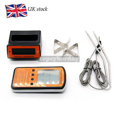 Wireless LCD Remote Dual Probe Meat Thermometer Set For BBQ Smoker Oven UK