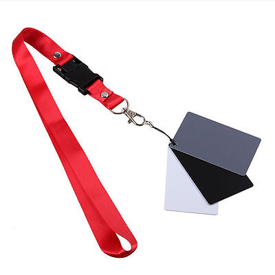 3 in 1 Pocket-Size Digital White Black Grey Balance Cards 18% Gray Card bidE IO