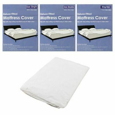 Deluxe Fitted Waterproof Bed Mattress Cover Protector Long Lasting Vinyl Sheet