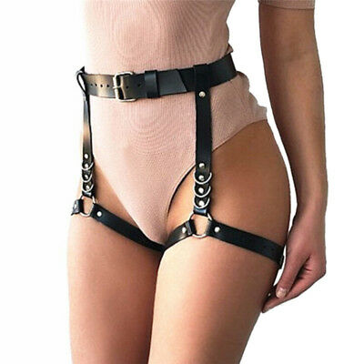 ad750b2d4 Women Faux Leather Waist Leg Cincher Garter Belt Harness Pantypunk Costume  NM