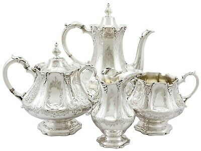 Antique Victorian Sterling Silver Four Piece Tea and Coffee Service London 1848
