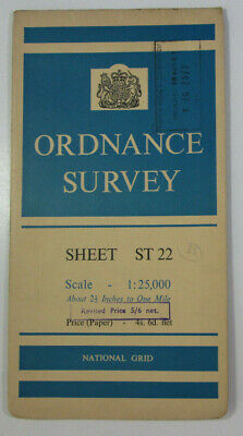 1959 Old Vintage OS Ordnance Survey 1:25000 First Series Map ST 22 Taunton 31/22