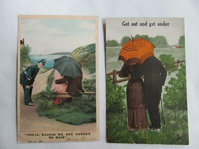 Lot of 2 1909 Comic Romance Umbrella Postcards #38-x