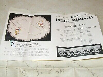 Vintage Unworked Embroidery - Large Doily -  Harvesters