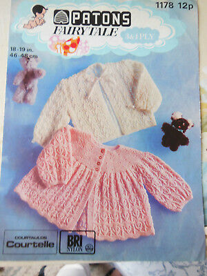 "Knitting Pattern For Babys' Jackets 18"" Chest Vintage Patons Pattern"
