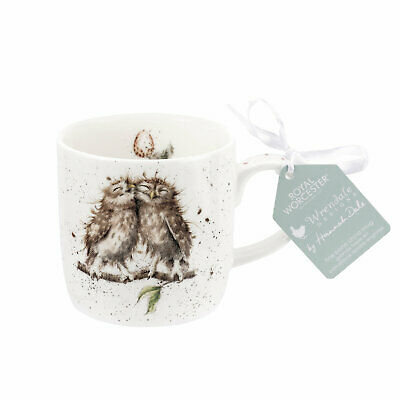 Wrendale by Royal Worcester Birds of a Feather Owls Mug, Fine bone China, 300ml