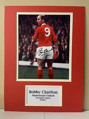 """Manchester United Bobby Charlton Signed 16"""" X 12"""" Double Mounted Display"""