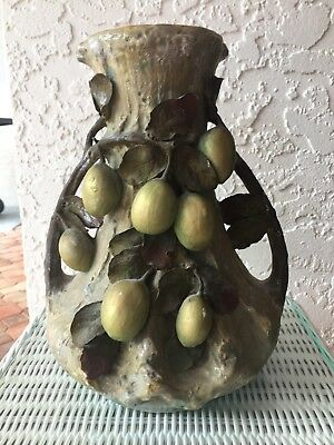 Antique Art Nouveau Amphora Edda Porcelain Double Handle Fruits Leaves Urn/ Vase