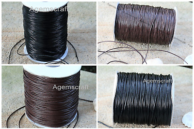Black or Brown Waxed polyester braided Leather like Cord 1mm or 1.5mm per meter