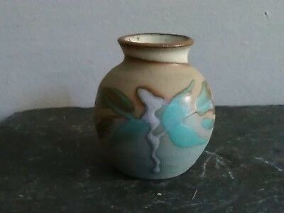 Small Vintage Stoneware Hand Painted Posy Vase/Pot - Pre Owned