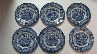 "Staffordshire Liberty Blue Historical Colonial  ""Monticello"" (6) 5"" Bread Plates"