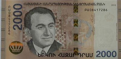 Armenia 2018 2000 dram banknote UNC Hybrid Technology Chess player T. Petrossian
