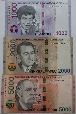 Armenia 2018 NEW Banknote - 1000 2000 5000 Dram UNC Hybrid Technology