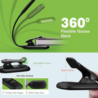 Portable Travel Flexible LED Clamp Clip On Reading Book Light Lamp Recharge BP