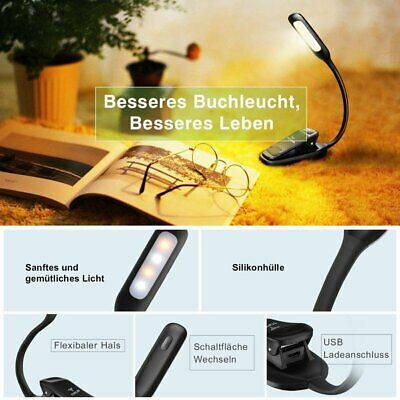 Portable USB Rechargeable Flexible 4LED Clamp Clip-On Reading Book Light Lamp BP