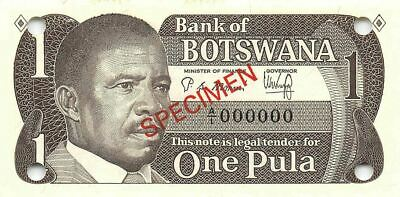 Botswana 1 Pula ND. 1983  P 6s  Series  A/1 Specimen  Uncirculated Banknote Af25