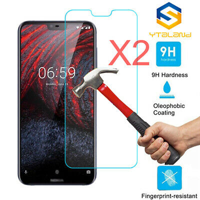 2Pcs 9H+ Tempered Glass Screen Protector For Nokia 6.1plus / X6 5.1plus / X5 7.1