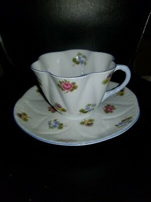 Shelley Rose, Pansy, and Forget-Me-Not Teacup & Saucer