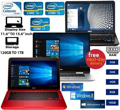 "Cheap laptop Dell 15.6"" Intel core i3 i5 i7 2.5Ghz 8GB 480GB SSD WIFI Win 7 10"