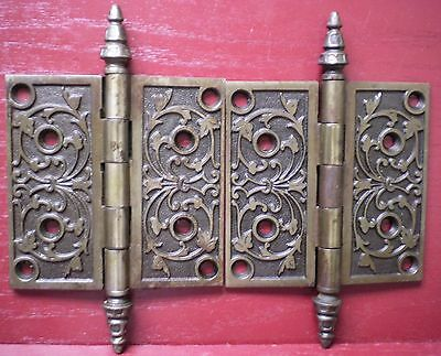 "Antique Super Nice Fancy 5"" X 5"" Heavy Door Hinges Original Screws #0"