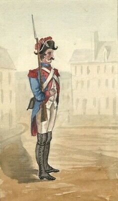 Albert Harcourt, French Soldier - Original late 19th-century watercolour