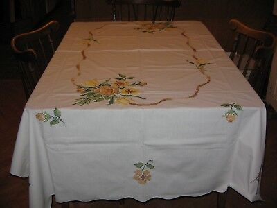 Vintage Hand Embroidered Cross Stitched Flower Table Cloth Rectangular  58 by 88