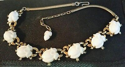 Vintage Signed Crown Trifari 1953 White Fruit Salad Rhinestone Necklace Pat Pend