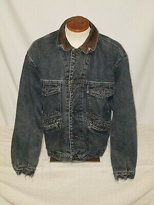 Gap Denim JACKET Flannel Lined Men's Size Medium Denim Authentic Western Wear
