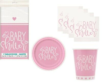 PINK HEARTS Girls Baby Shower Party Tableware Range Balloons & Decorations